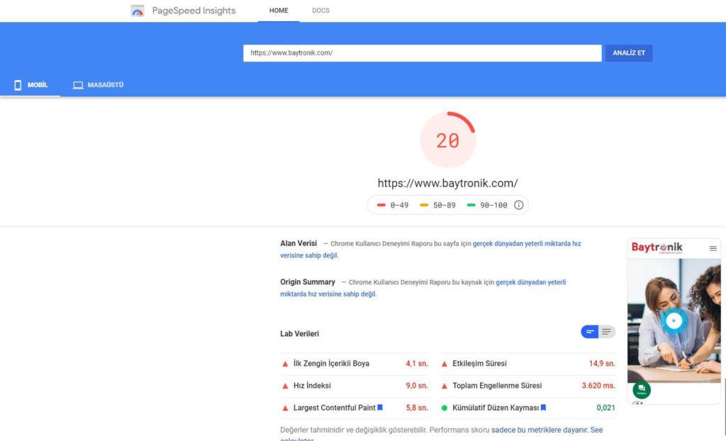 Pagespeed mobil hız testi