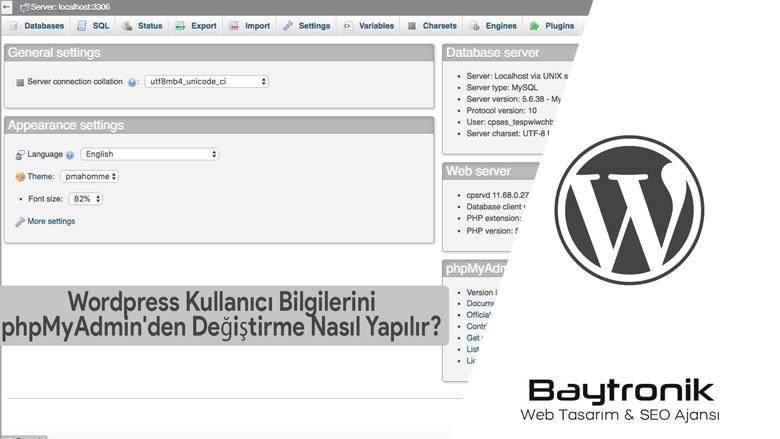 wordpress phpmyadmin şifre değiştirme